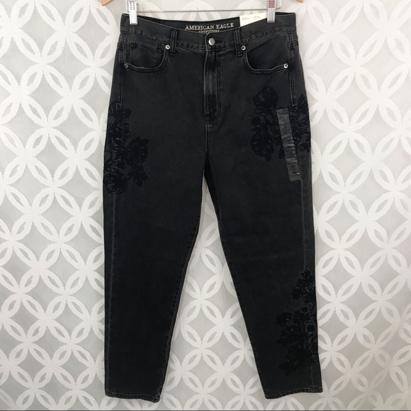 7dd4232a597c57 AEO Embroidered Black Wash High Waisted Mom Jeans. NWT. American Eagle  Outfitters